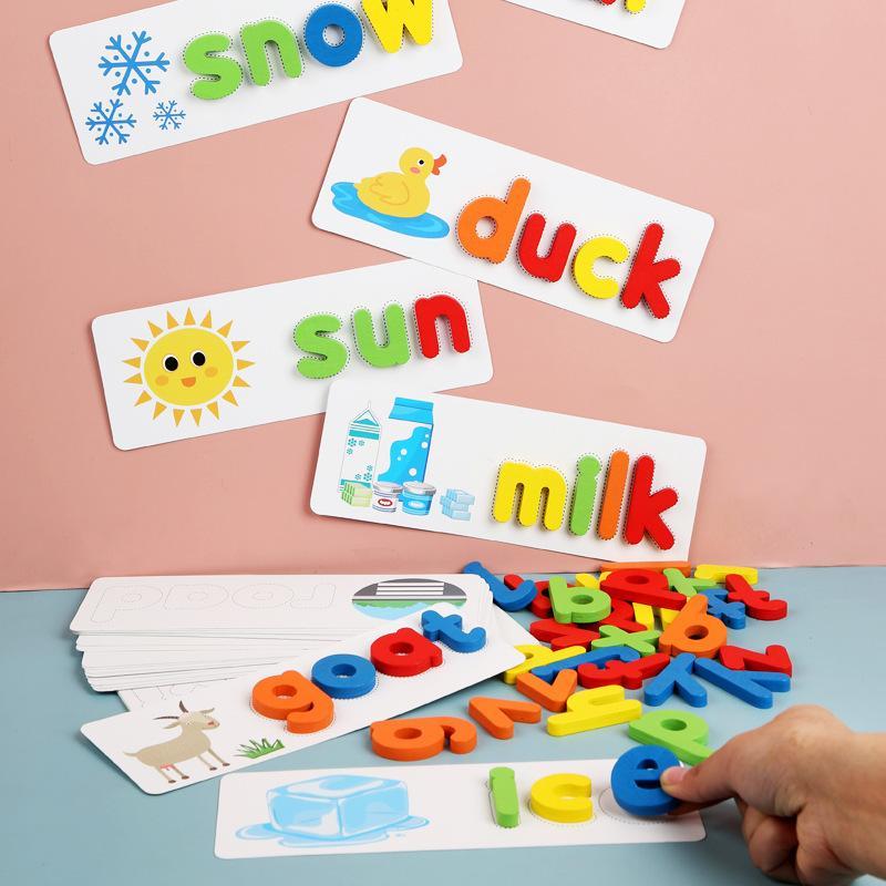 Jogo de palavras de Montessori: aprendizagem precoce em Madeira Quebra-Cabeças de letras do alfabeto pré-escolar brinquedos infantis Y200414