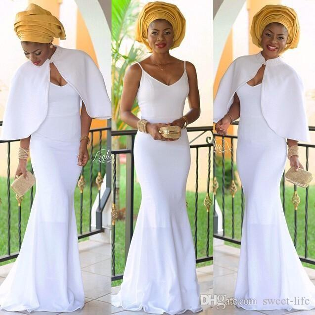 Elegant Nigerian Evening Dresses White Mermaid Bridesmaid Dress with Jacket Long Vestidos De Festa African Prom Gown