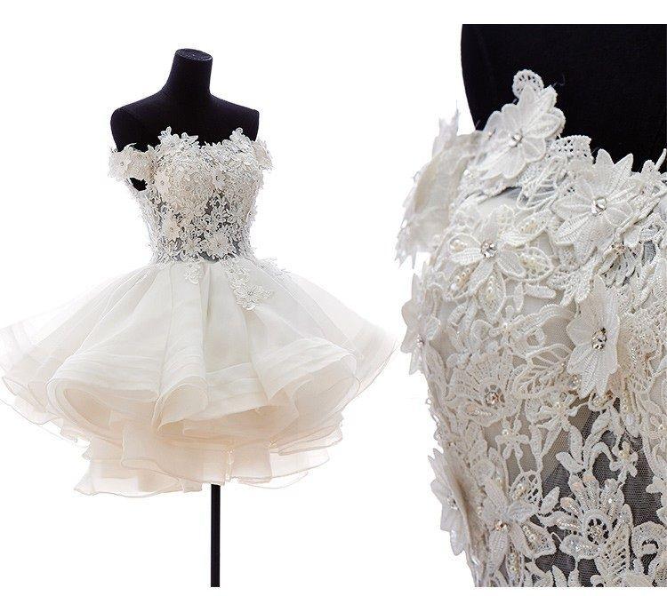Vestido de novia corto 2019 Sweetheart Lace aplique el hombro vestido de novia vestido de novia Vestido de Noiva