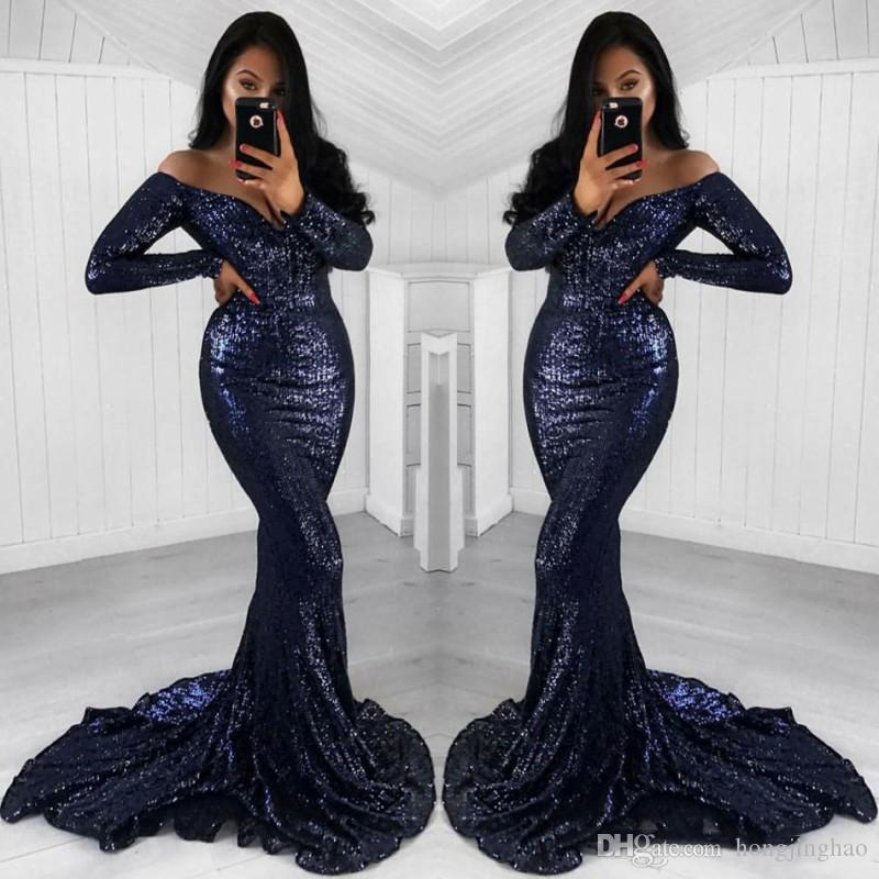 Sparkle Navy Blue Sequined Mermaid Prom Dress 2019 Off spalla Vintage manica lunga abito da sera Sweep Train Plus Size