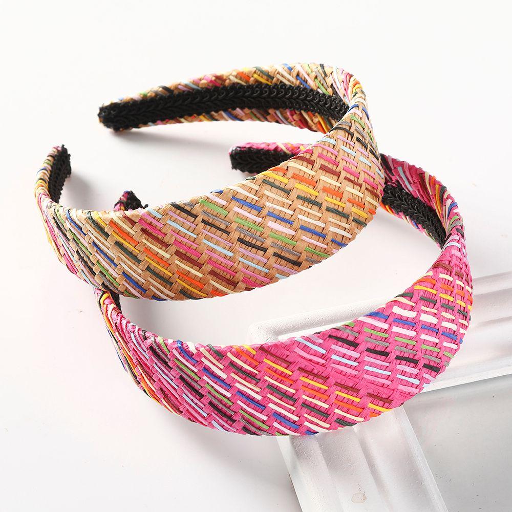 Tejer rafia raya diadema manera de las mujeres hechas a mano del pelo del aro de bisel de ala ancha accesorios para el cabello de colores