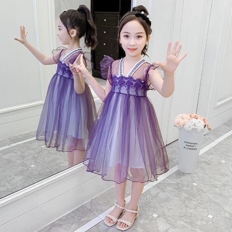 Girls' Hanfu Kleid Sommerkleid 2020 neue Kinder chinesischen Stil retro Stickerei Thema Kostüm Ethnische Kleidung Rockmädchennetz Prinzessin