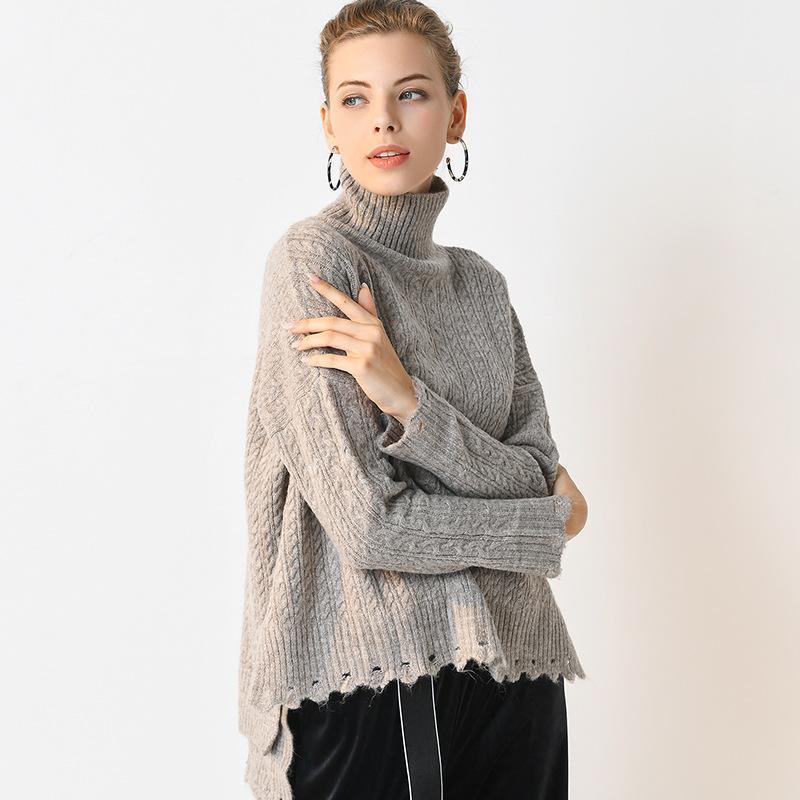 2019 pull couleur unie femmes long long court talonnage chemise chandail haute fente col