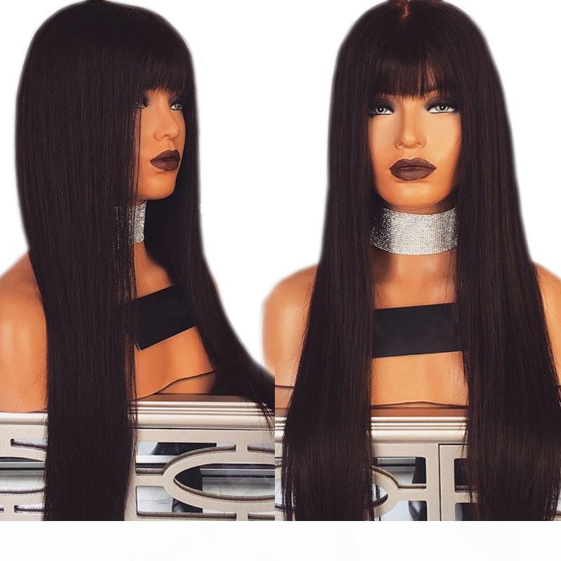 شعر مستعار أسود طبيعي طويل مستقيم الشعر الرباط الباروكات غلويليس مقاومة للحرارة الرباط الجبهة الباروكة الاصطناعية مع الانفجارات للنساء السود