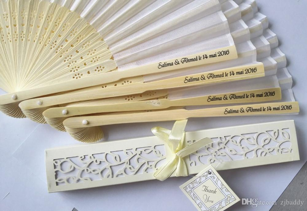 Personalized Engraved Silk Hand Fan Wedding Fold Fan Vintage Fans Customized Wedding Favor and return gifts for guest +printing 100pcs