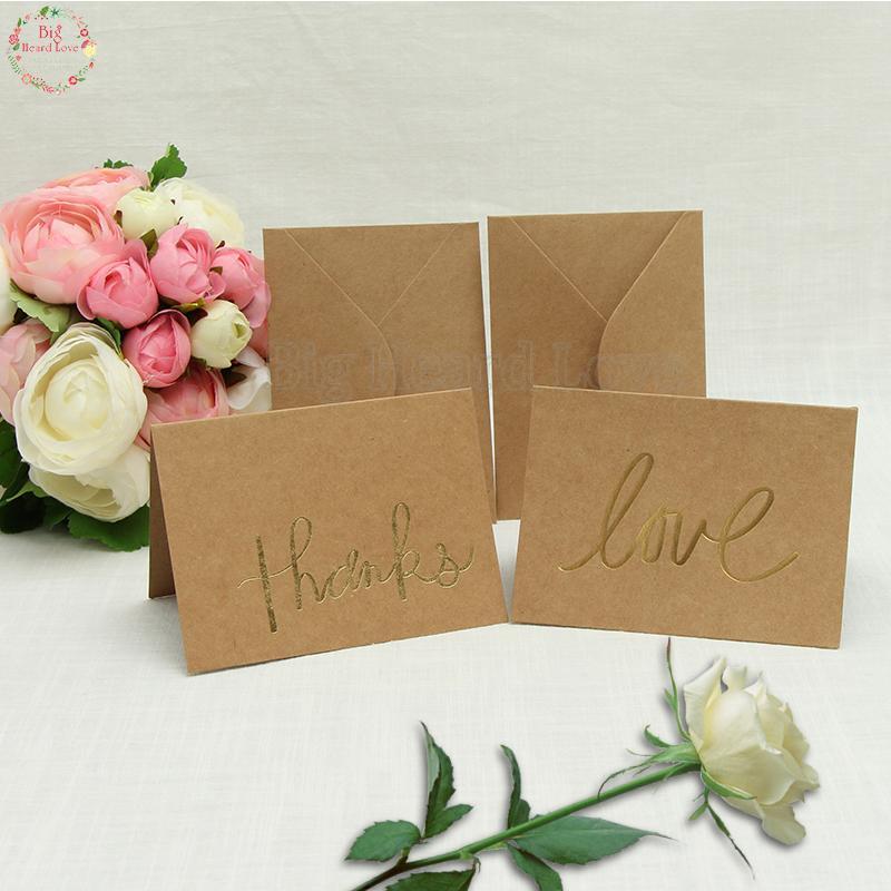 Convite Graças 100pcs amor cartão de casamento favor do chuveiro nupcial agradece Cartão do partido do lugar do casamento Convites Está Com Envelope