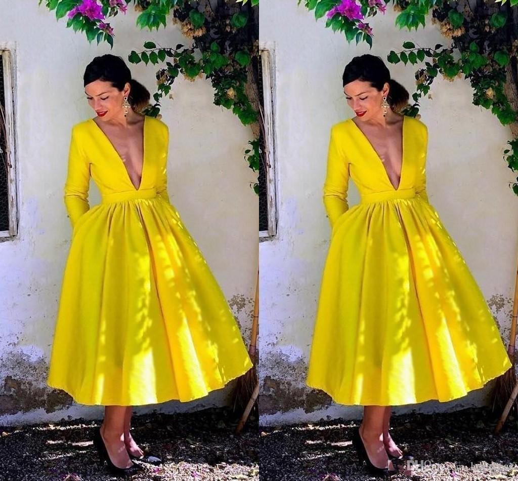 Sexy Deep V-neck Short Evening Dresses 2020 Long Sleeve Draped Princess Tea Length A-line Prom Dress Party Gowns