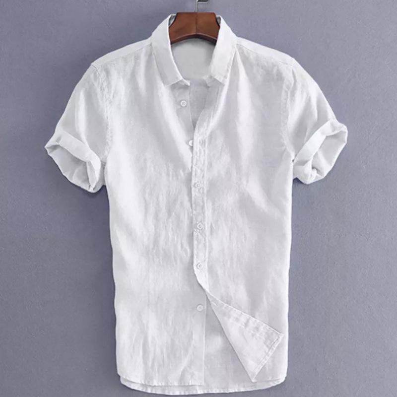 Verão camisa de manga curta de cor sólida Tamanho Grande Moda Casual Slim-fit camisas Hot Venda de Homens