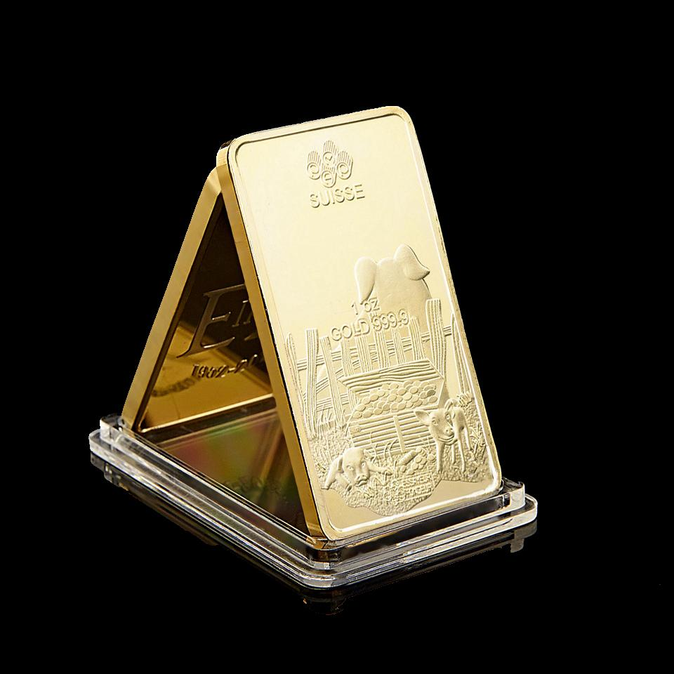 Suisse Zodiac Pig 1oz Gold 999 Commemorative Gold Bar Year Pig New Year Gift Gold Plated Art Collection