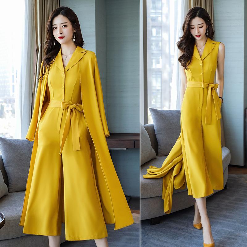 Vestito di colore solido selvaggio di un pezzo delle donne di colore solido vestito delle due parti (giacca + pantaloni) casuale di affari
