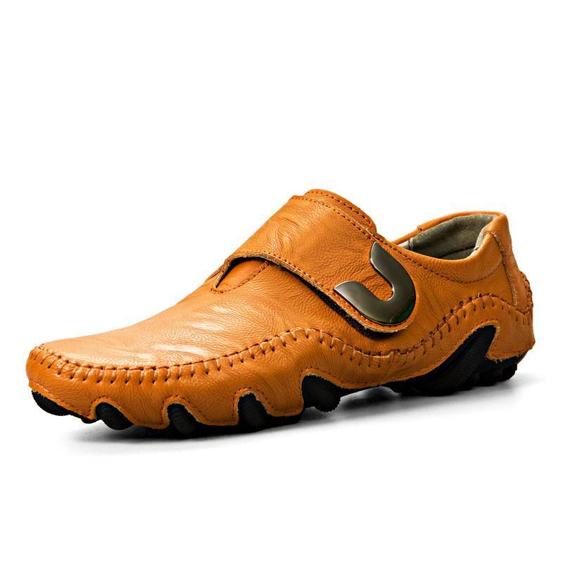 أحذية أحذية رجالية شقة رجل القيادة الجلدية المصنوعة يدويا حقيقية رجالي أحذية مصمم أزياء الأخفاف متعطل