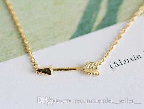 30 Ingenious Lovers small Arrow charm Necklace Love Letters Pendants Necklace Alloy Arrow Through Heart Short Chain Necklace Jewelry Gift