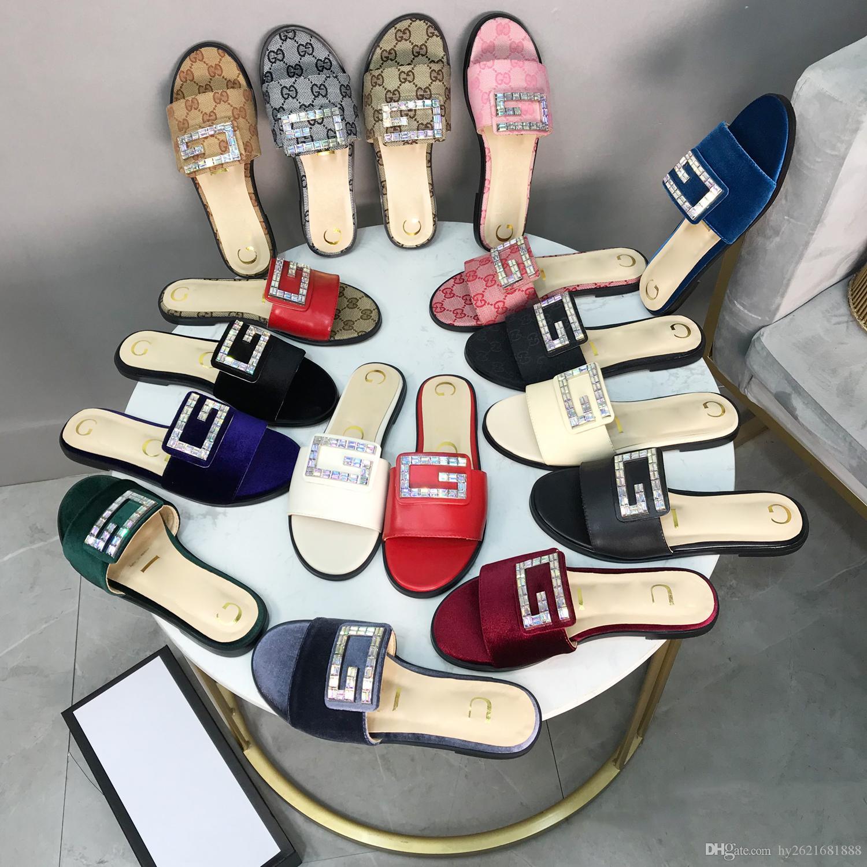 Designer Schuhe Damen Hausschuhe Luxus Strass Dekoration Sandalen hergestellt in Italien Samt Frauen Schuhe versandkostenfrei 2019 sprin