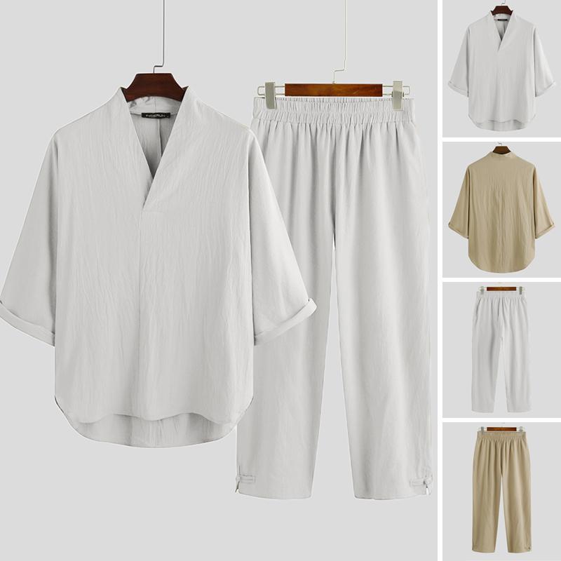 Мужчины Китайский Vintage Solid Color Cotton Наборы Streetwear Половина рукавом V шеи Tops повседневные брюки лето дышащая Подходит 2 шт 5XL