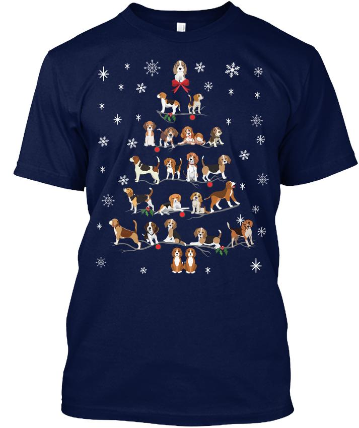 Page One High Quality Custom Printed Beagle Christmas Tree Popular Tagless O-neck Short Sleeve Cotton Casual Fashion Mens