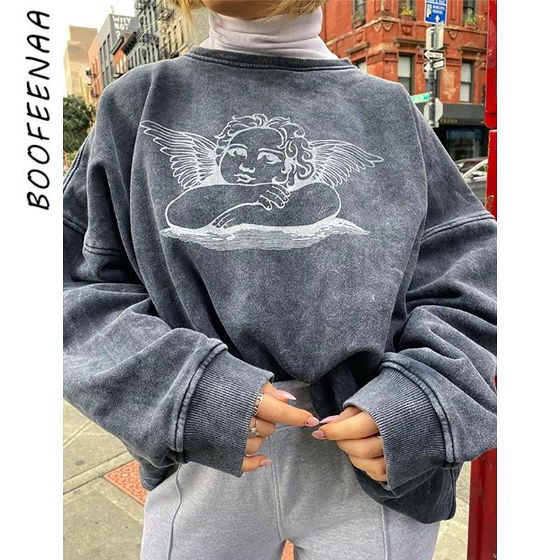 BOOFEENAA Ángel impresión linda gráficas capucha de las mujeres gruesas de gran tamaño camiseta básica ropa de las muchachas sudaderas Estética C54-AG02 CJ191216