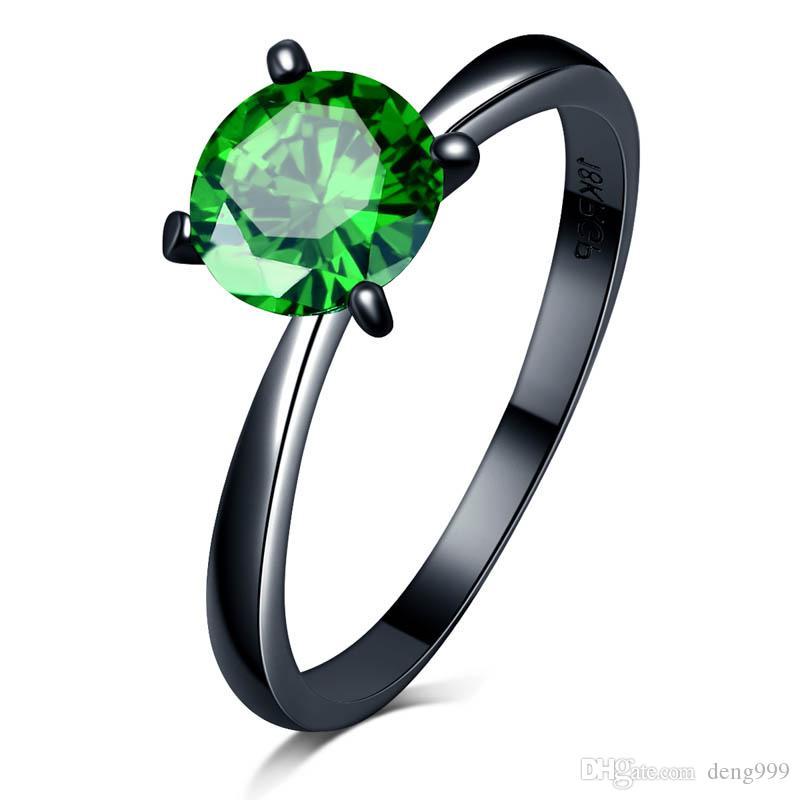 Neue Ankunfts-hochwertige heiße Verkaufs-7mm CZ-Ring-Art-Schwarz-Gold Filled Schmuck Vintage Wedding-Ringe für Frauen Schmuck
