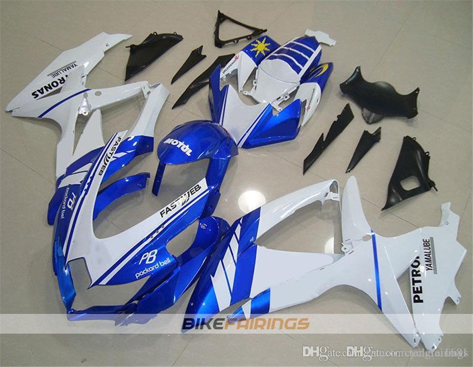 High quality New ABS Motorcycle Fairing Kits fit for SUZUKI GSXR600 GSXR750 K8 2008 2009 2010 GSXR K8 Bodywork set custom Blue White