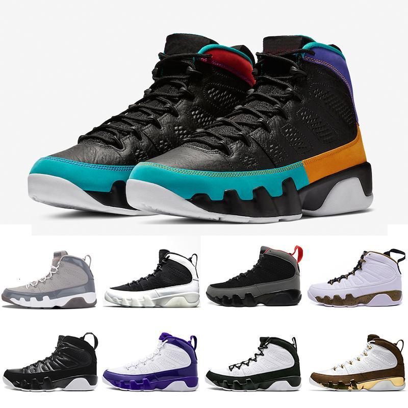 US8-13 UNC 9 IX 9s Sonhe-Mens tênis de basquete Cinza frio LA Black White alta Bred Oreo O Espírito Sports Sneakers 41-47