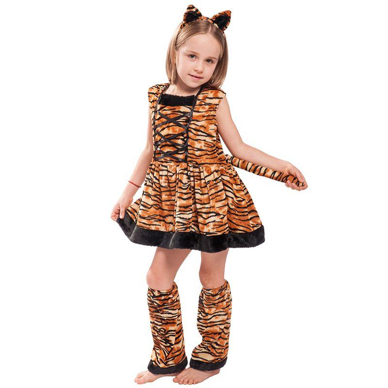 Kids Tiger Costume Cosplay Halloween Animal Costumes For Girls Animal Costume For Masquerade Children Dress