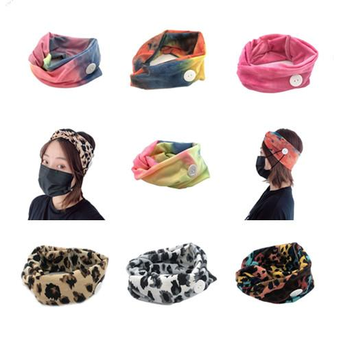 Free DHL Women Elastic Leopard Anti Ear Headbands with Mask Button Colorful Sports Yoga Exercise Soft Hair Lace for Girls Hair Accessories