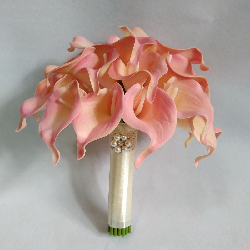 Gelin Buketi Pembe Picasso Calla Lilyum Yuvarlak Düğün Çiçekler Allık Allık Dokunmatik Centerpieces Parti Dekorasyon