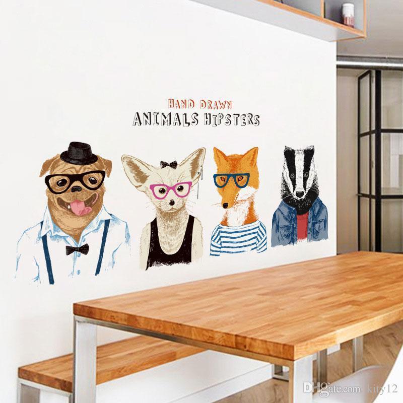 3d мультфильм голова животного настенная роспись искусства наклейка для декора комнаты Спальня Гостиная Бесплатная доставка