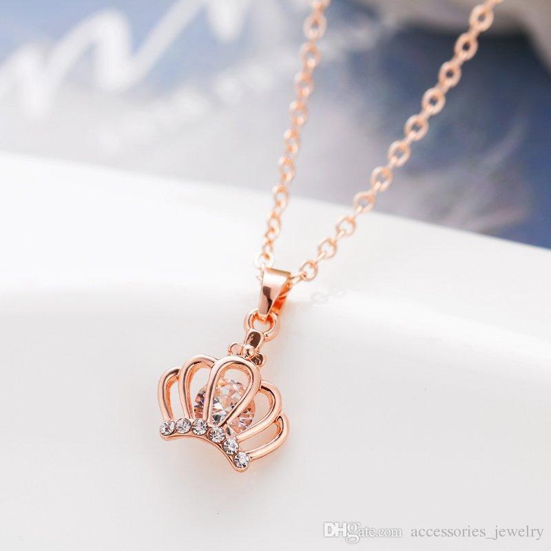Luxury Design de haute qualité main Beautiful Girls Collier en or rose clés Collier fleur charme à vendre