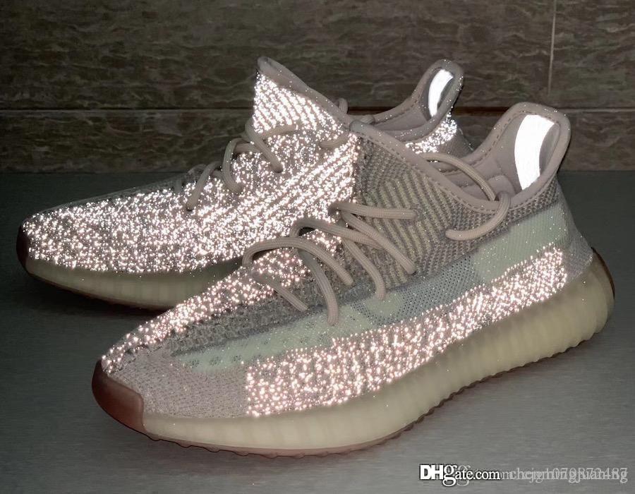 Yeni Otantik Sply y350 V2 Citrin Primeknit Bulut Beyaz Kanye West Erkekler Kadınlar Koşu Ayakkabıları Ile 3 M Yansıtıcı Sneakers FW3042 FW3043 Kutusu