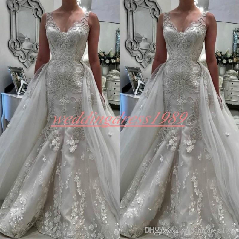 Glamour V-cou Arabe Sirène Dentelle Robes De Mariée Survêtement Supprimer Jupe Floral Robe De Mariée Plus La Taille Robe De Mariée Robe Robe de mariée Personnalisé