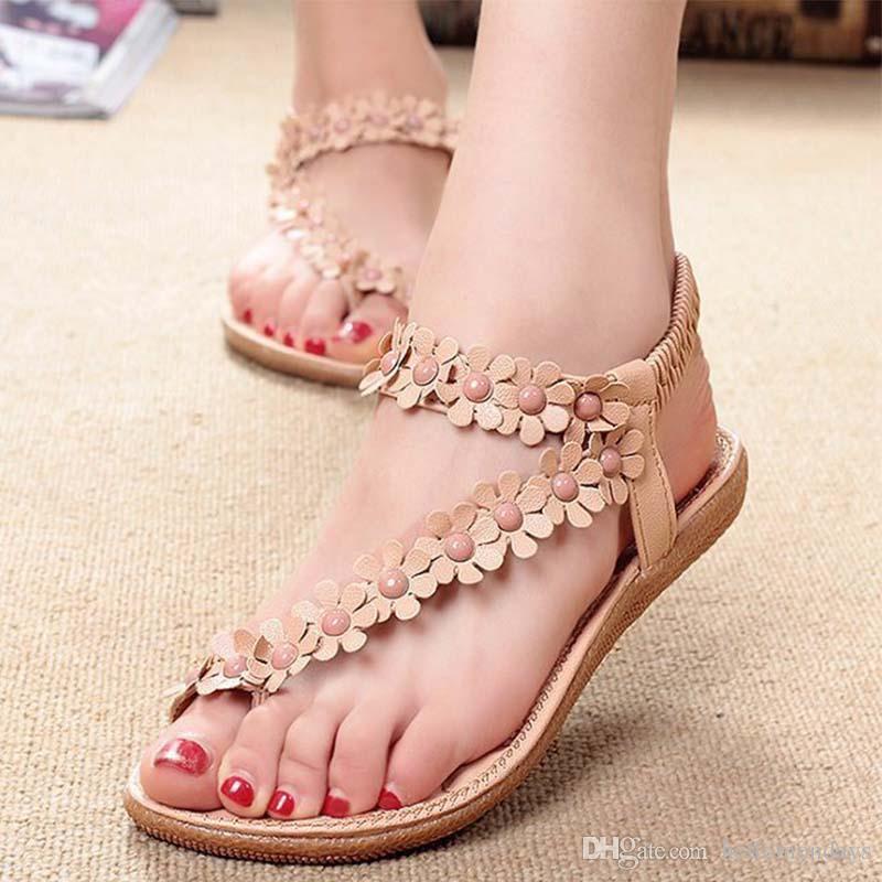 여성 패션 달콤한 여름 보헤미안 달콤한 파란색 된 샌들 클립 발가락 샌들 비치 신발 헤링 본 샌들 신발