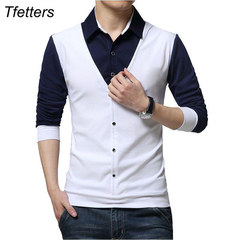 TFETTERS Marca otoño hombre de las camisetas de moda 2019 Falso Dos Ropa de diseño fresco de la camiseta de manga larga camiseta de los hombres Casual Male V200327