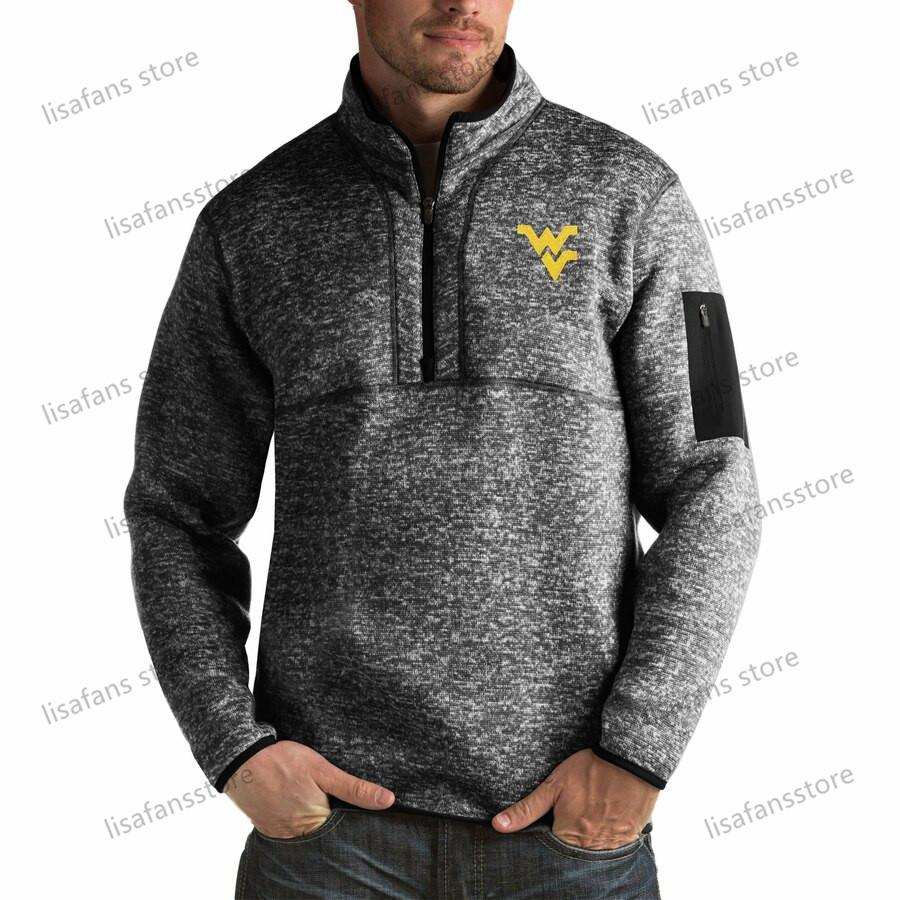 West Virginia Mountaineers Pullover Felpe Felpe Mens Fortune Big Tall Quarter-Zip PullOver Giacche Stitched College Football Sport con cappuccio