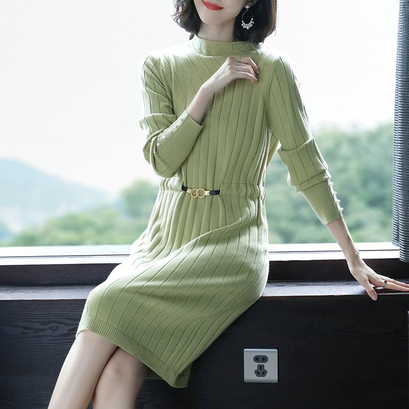 Vestido del suéter de diseño de moda señoras de la alta calidad del otoño del resorte elástico delgado ocasional Mujer jersey de punto de vestir de manga larga