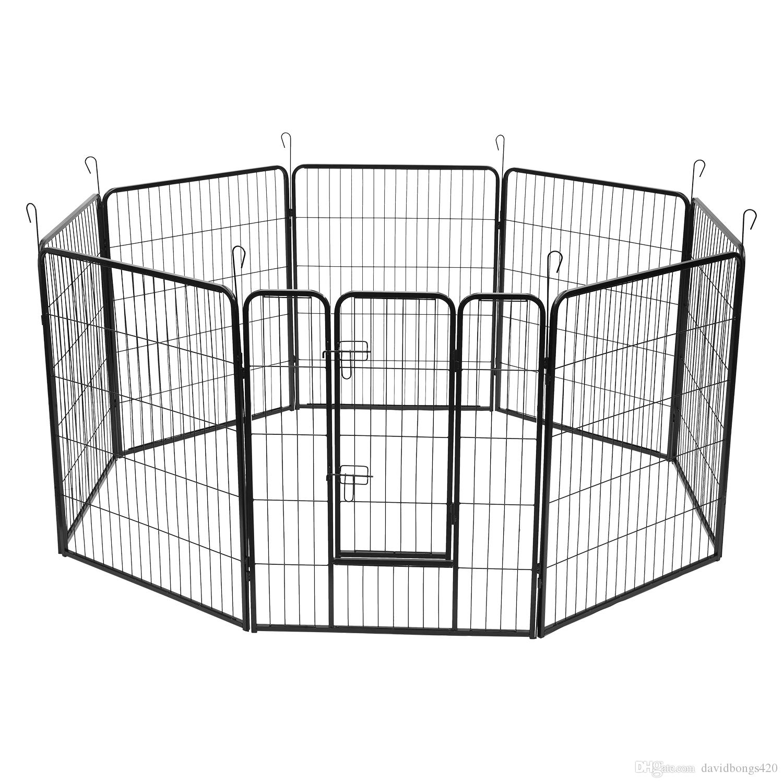 "40"" Dog Pet Playpen Heavy Duty Metal Exercise Fence Hammigrid 8 Panel Black Guardrail dog cage"