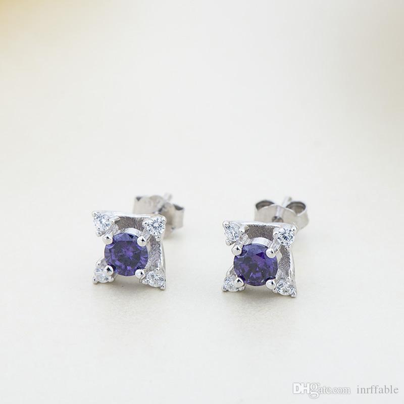 925 Orecchini Sterling Silver Cubic Zirconia Orecchio Brincos di trasporto fidanzamento Piercing nozze gioielli brinco