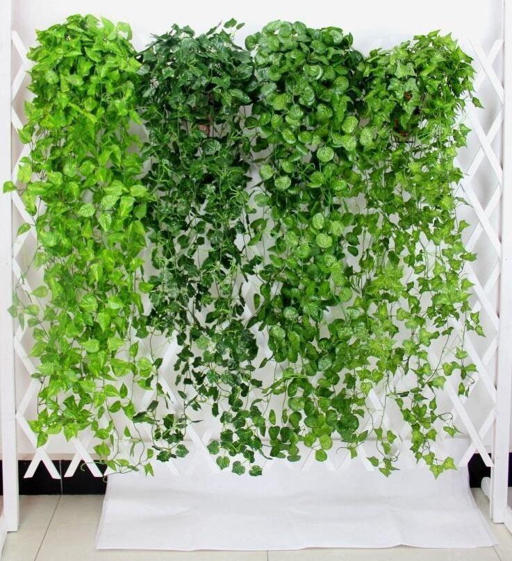 Ivy artificiel Garland feuille verte Faux Hanging vigne Plantons pour Garden Party de mariage Décoration murale Décoration d'intérieur DHB671