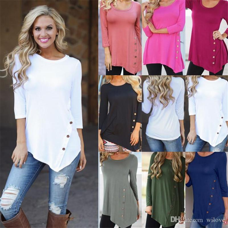 Новые женские пуговицы нерегулярные рубашки с круглым воротом с длинным рукавом подол пуговицы рубашка блузка тройники Vestidos одежда