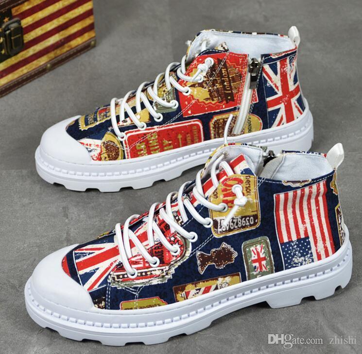 고품질 mercerized 캔버스 신발 남자 통기성 캐주얼 신발 성격 낙서 유행 신발, 두꺼운 신발. 사치품 로퍼 G5.83