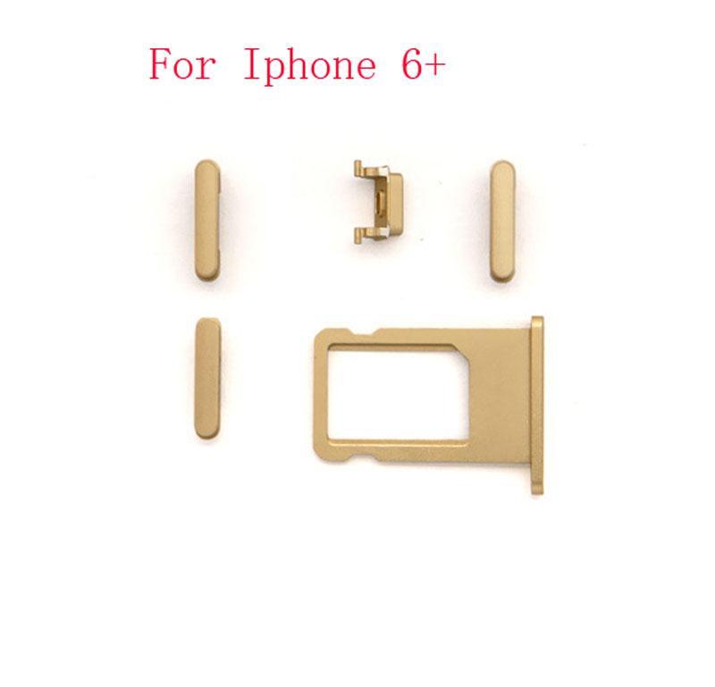4 5 in 1 Power Key-Schalter ON / OFF + Mute-Schalter Taste Lautstärketaste + Tasten- sinm Schale für iPhone 4 5 5s 5C 6 6+ 6S 6s + plus Ersatz-Mini-50set