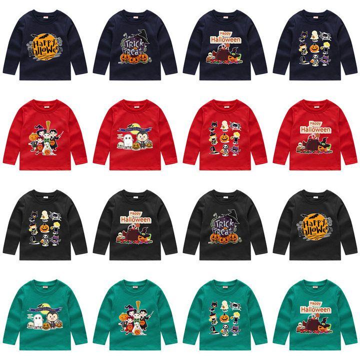 Varejo 24 estilos Crianças Trajes de Halloween camisola tshirts Manga comprida Casual dos desenhos animados impresso pulôver meninos meninas camisas de futebol crianças