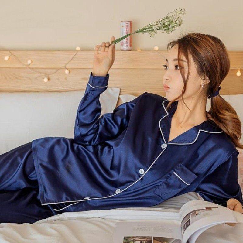 Bayan Ipek Saten Pijama Pijama Set Uzun Kollu Pijama Pijama Pijama Takım Elbise Kadın Uyku Iki Parçalı Set Loungewear Artı Boyutu 2021