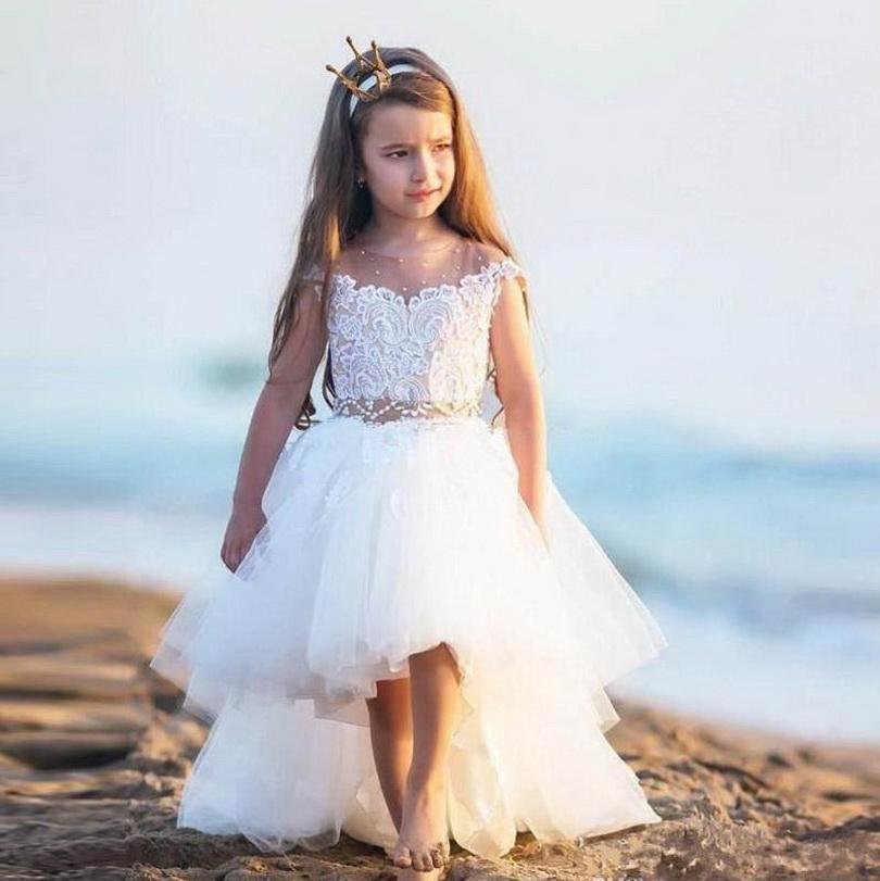 New Vindo Alta Baixa Princess Dress Sheer ocasião Neck vestido da menina flor com beading Para Especial Custom Made crianças Dresses Prom