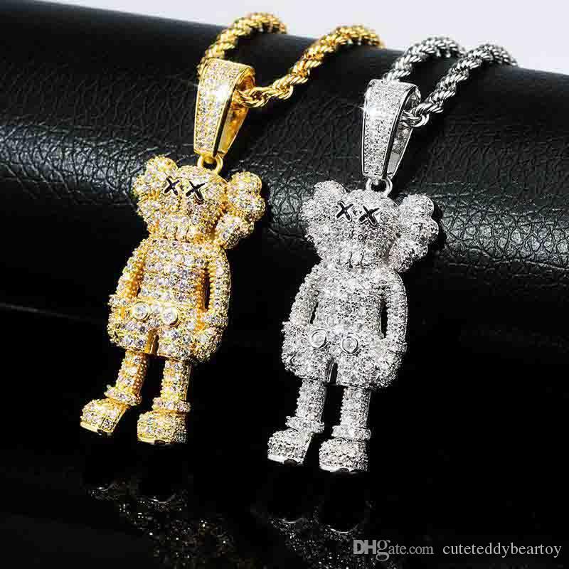 Minusone Gold Iced Cartoon Star Pendant Necklace Chain Charm Bling Cubic Zircon Jewelry