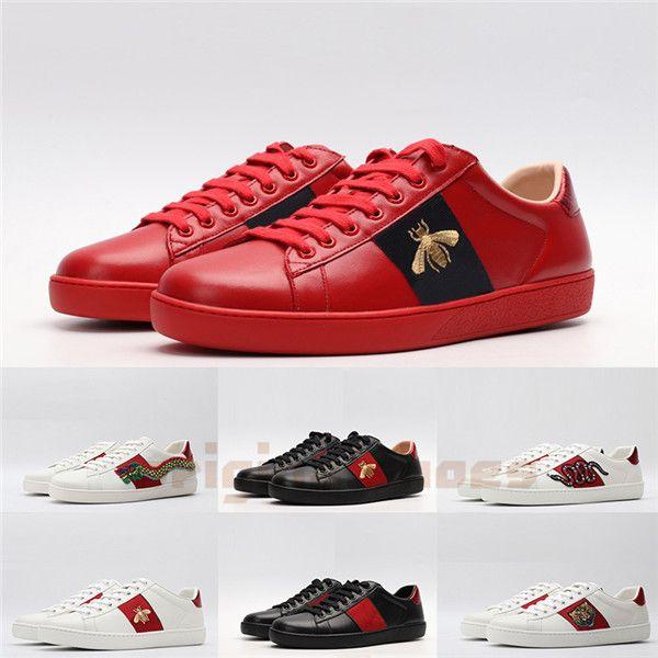 2020 Ace Casual Designer Schuhe Triple Black Herren Damen Flat Plate-Forme Sneakers Bee Snake Stripe Platform Luxe Schuh