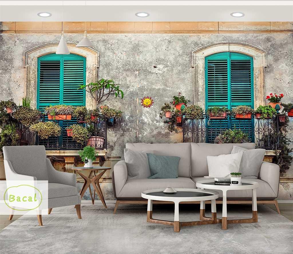 Bacal coutume Rétro gris uni Ciment Fleur Fond d'écran 3D pour les murs Salon Café Restaurant Vêtements Boutique fond murale