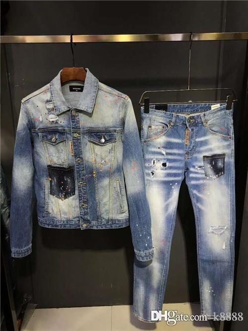 패션 남성 긴 데님 인쇄 양복, 좋은 상체 효과, 트렌드 자기 재배