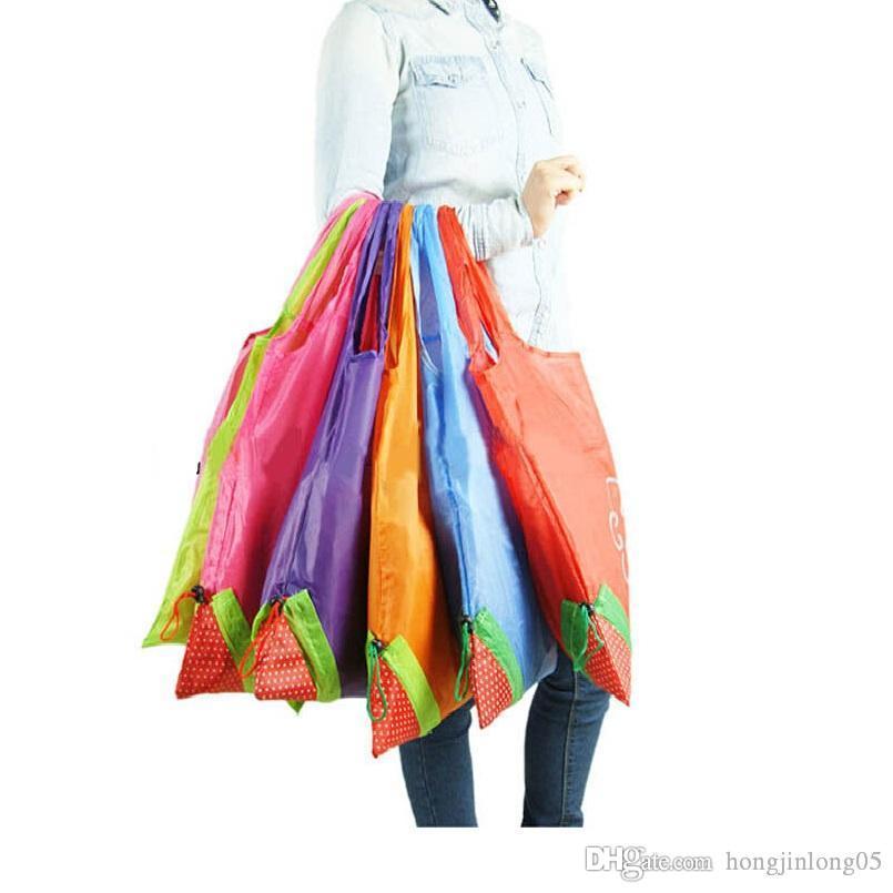 Новый горячий Eco хранения сумки Клубничный Складная сумок многоразового складывая Бакалея Нейлон Большой мешок 8 цветов