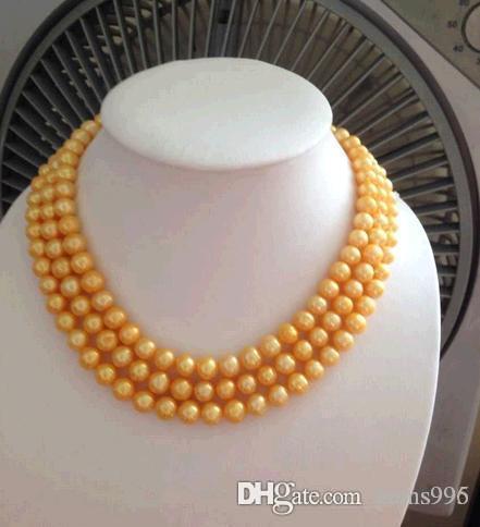 Элегантный 8-9мм южного моря естественное золото жемчужное ожерелье 48inch 14k золото Застежка