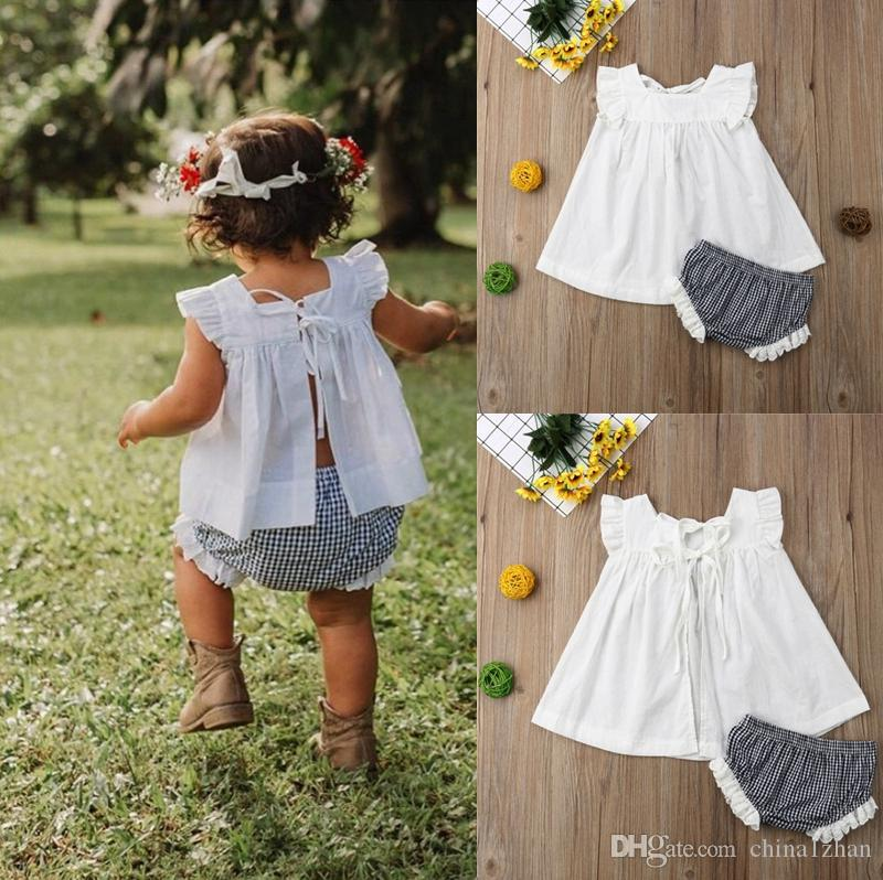 Baby Girls Outfits Kids Lace Dress Plaid Shorts 2PCS Sets Sleeveless Girls Clothes Set Summer Baby Kids Clothing DHW2380